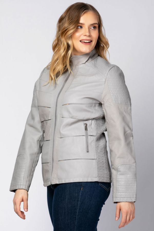 Leather-like jacket with mesh details in grey colour