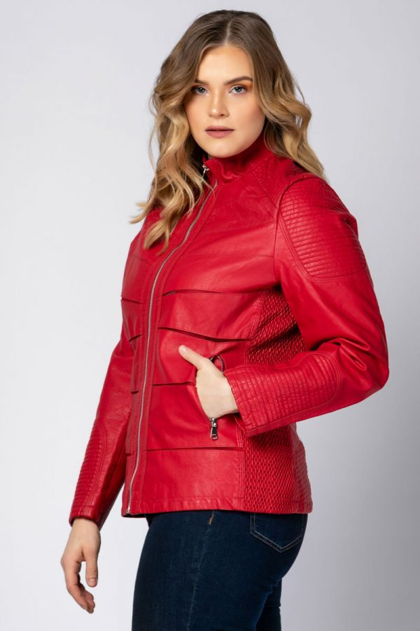 Leather-like jacket with mesh details in red colour