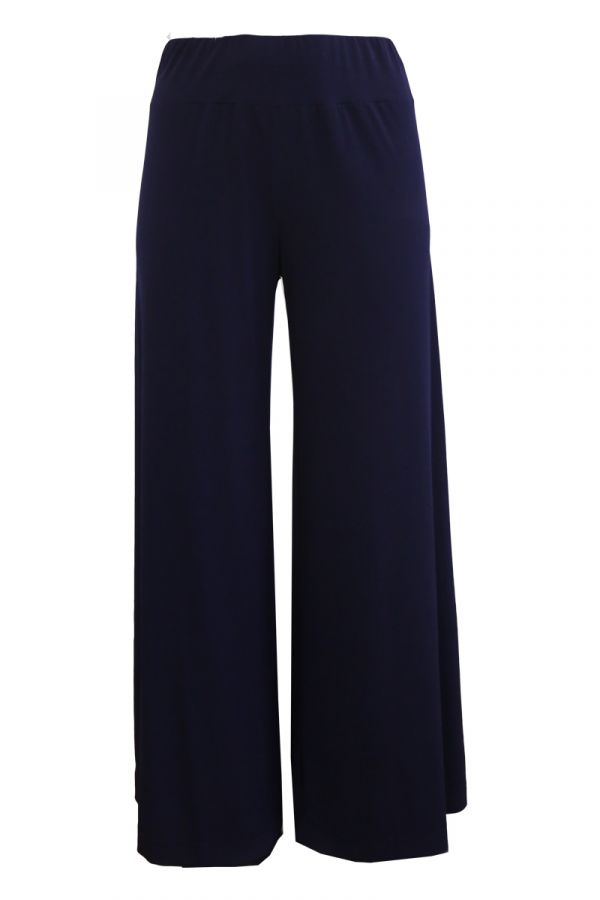 Light-weight high-waisted wide leg trousers in blue colour