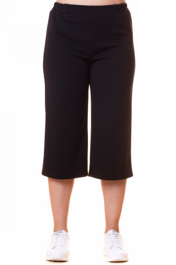 Scuba high-waisted culotte trousers in black colour