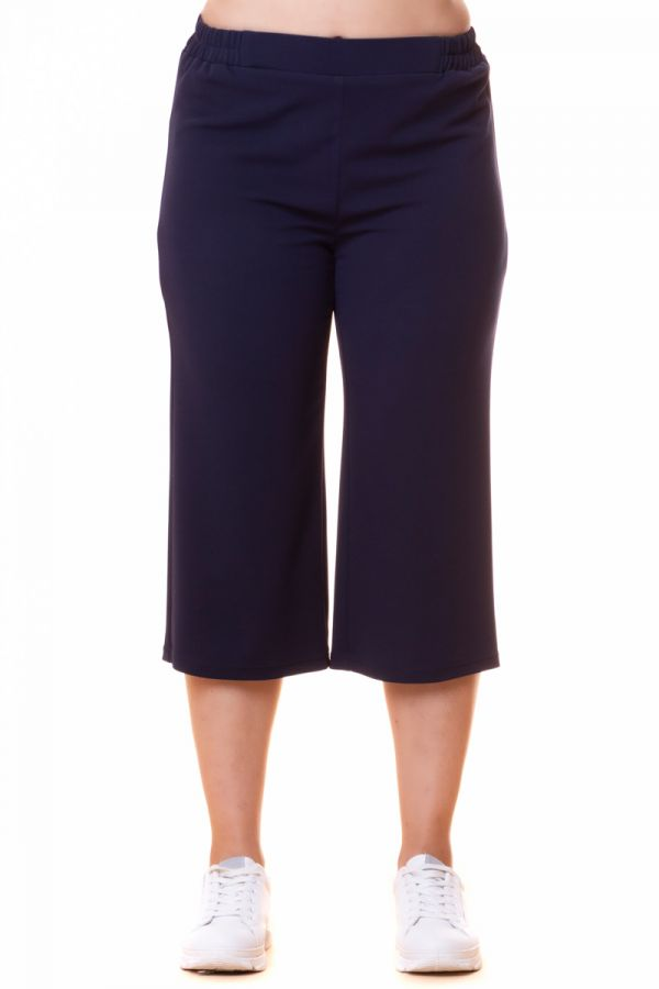 Scuba high-waisted culotte trousers in blue colour