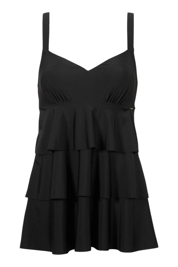 Frill swimsuit in black colour