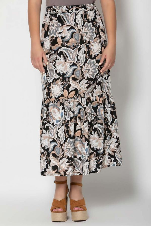 Maxi frill skirt with chinese print in black colour