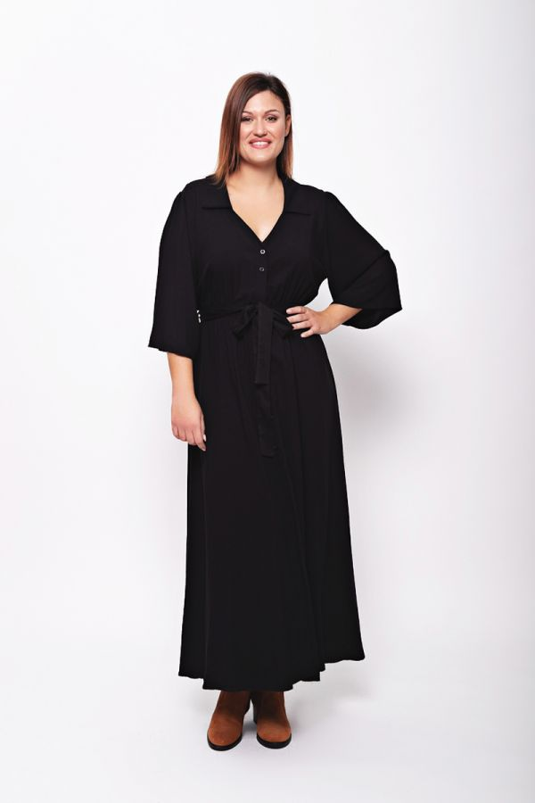 Maxi shirt dress with flare sleeve in black colour