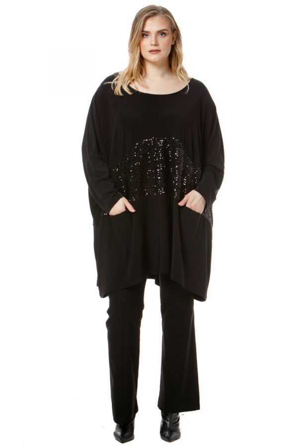 Sequin embellished blouse with pockets in black colour