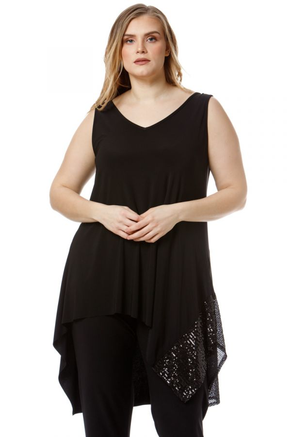 Sleeveless asymmetric sequin embellished long top in black colour