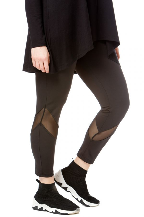 High-rise leggings with mesh details in black colour