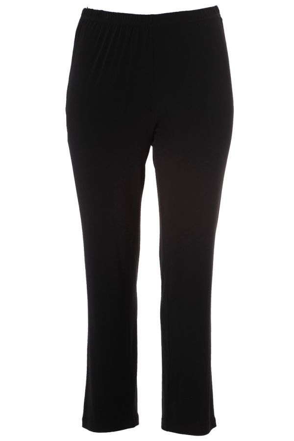 Elastic light-weight straight leg trousers in black colour