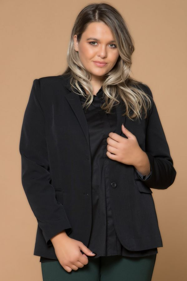 Long waisted blazer in black colour