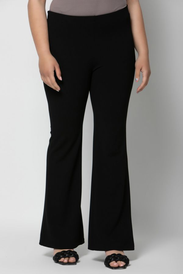 Heavy-weight scuba high-waisted flare trousers in black colour