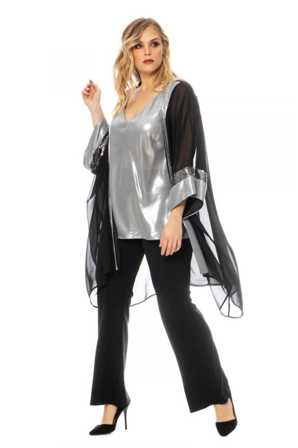 Shimmery sleeveless top in silver colour