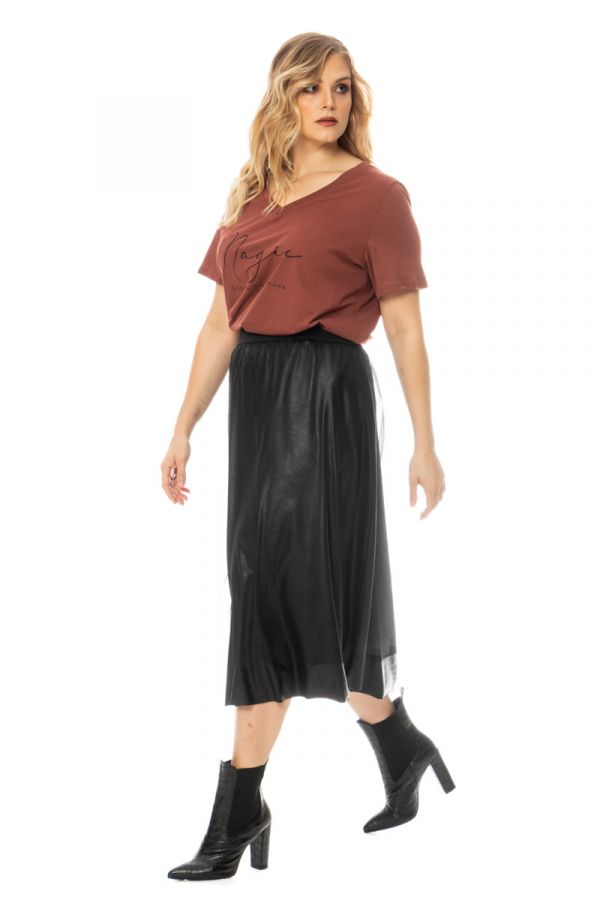 Midi leather-like layered skirt in black colour