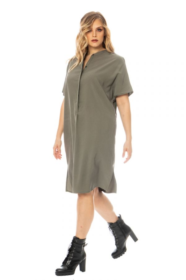 Midi tunic dress with pockets in khaki colour