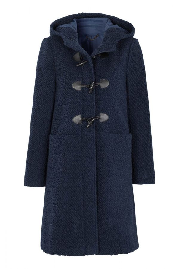 Hooded boucle duffle coat in blue colour