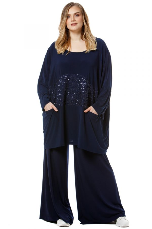 Sequin embellished blouse with pockets in blue colour