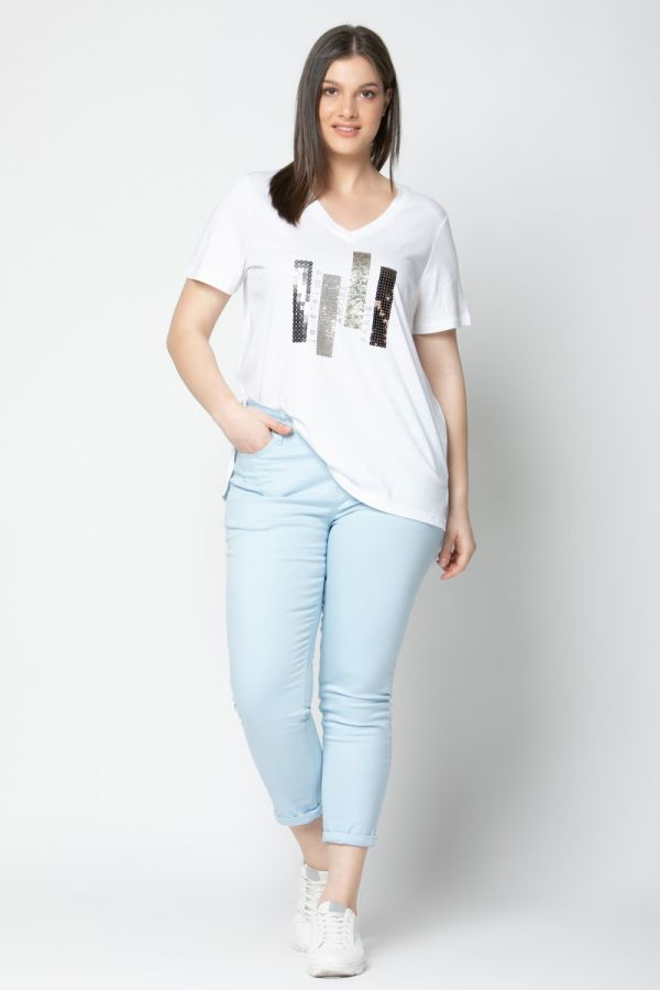 """Hi-lo t-shirt with sequins and """"Je t'aime"""" print in white colour"""