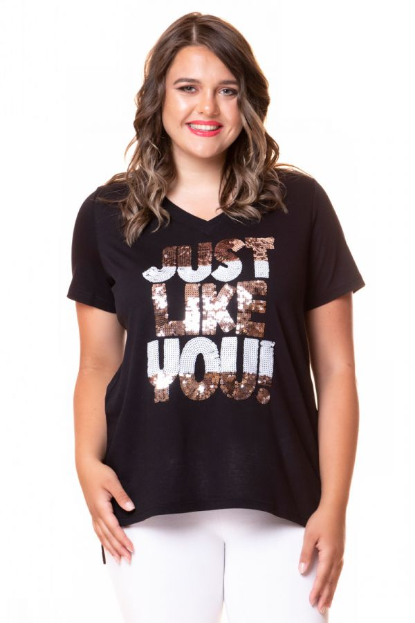Hi-lo black t-shirt  with sparkled letters ''Just Like You''