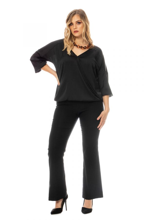 Wrap blouse with balloon sleeves in black colour
