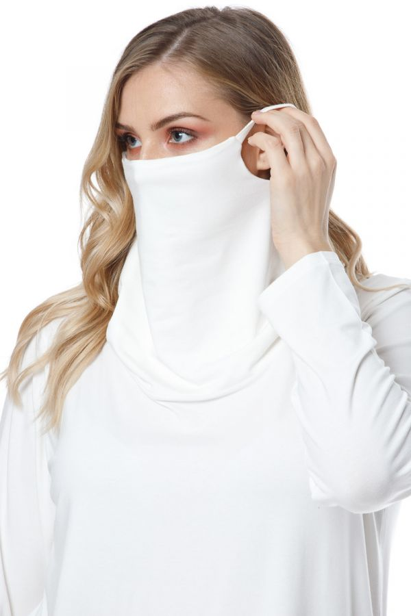 Long sleeve top with attached face mask in ecru colour