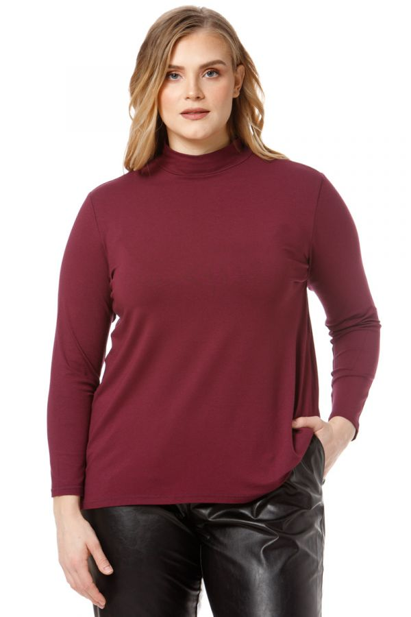 High neck long sleeved top in aubergine colour
