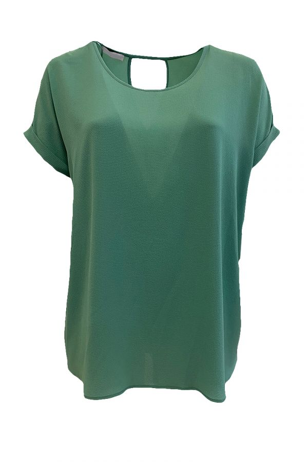 Blouse with roll sleeve in mint colour