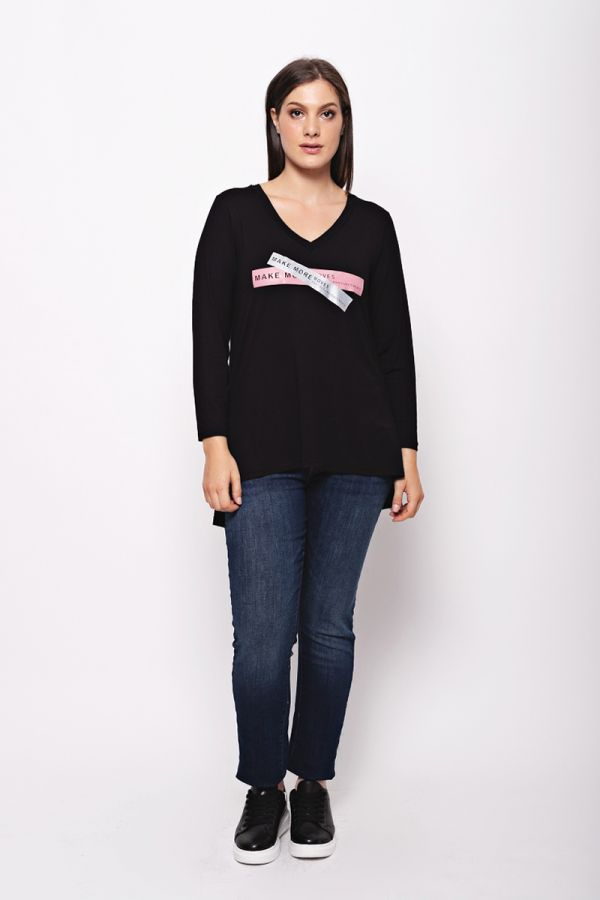 """Long sleeve top with """"Make more moves"""" print in black colour"""