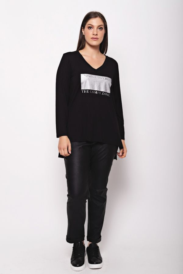 """Long sleeve top with """"Comfy zone"""" print in black colour"""