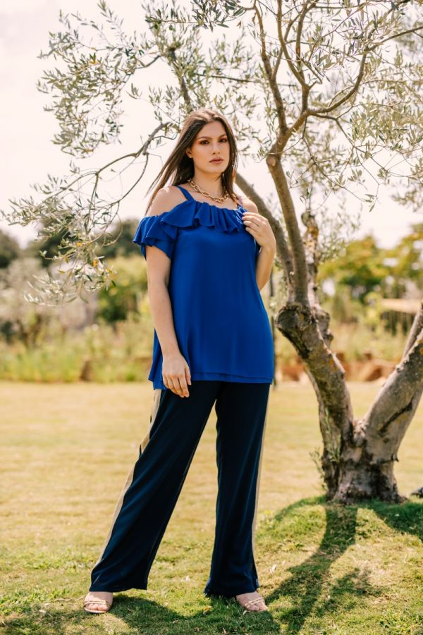 Cold shoulder frill top in royal blue colour