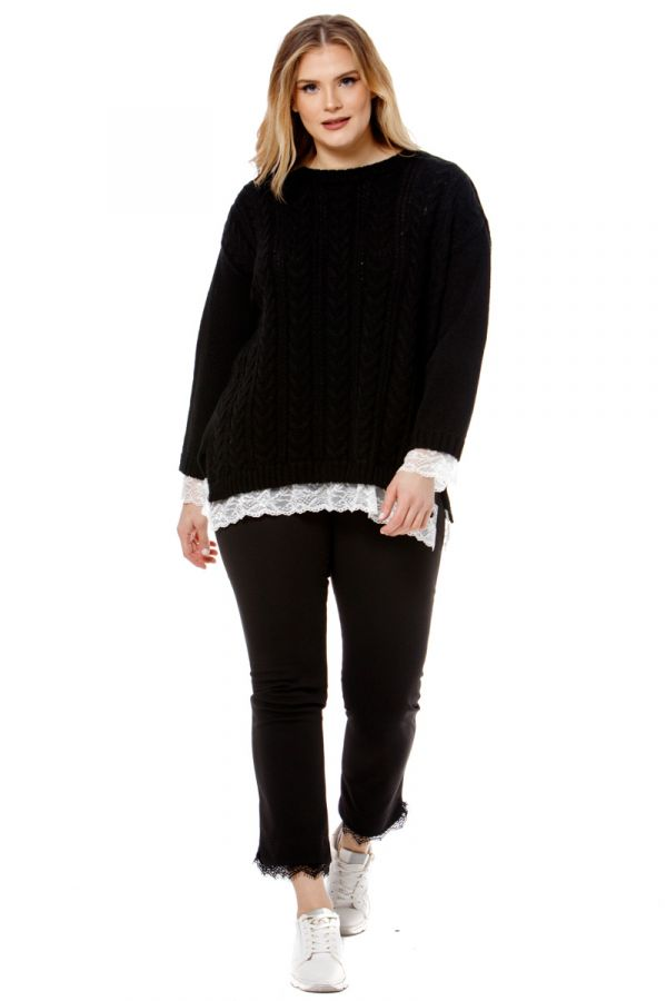 Knit jumper with lace details in black colour