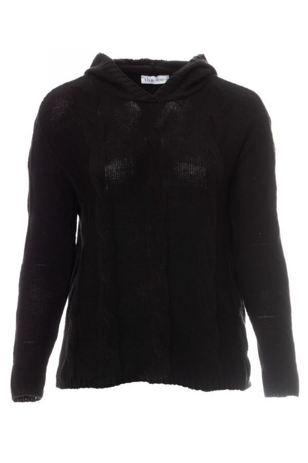Hooded cable knit jumper in black colour