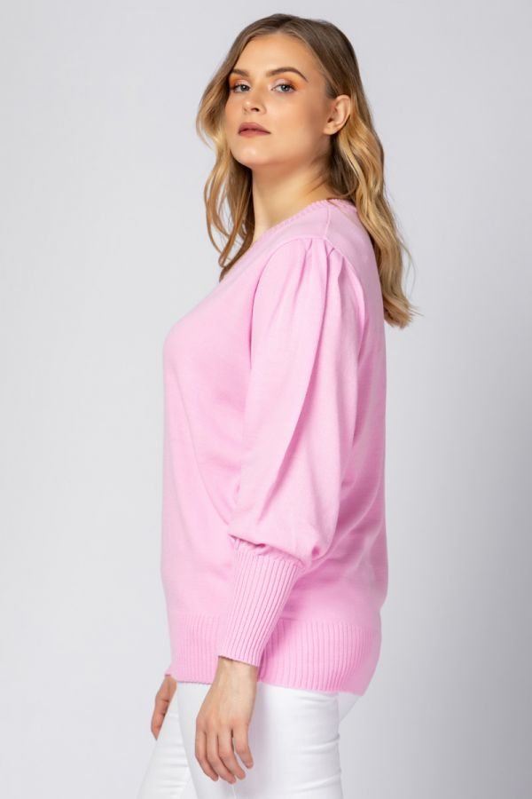 Knit jumper with puff sleeves in pink colour