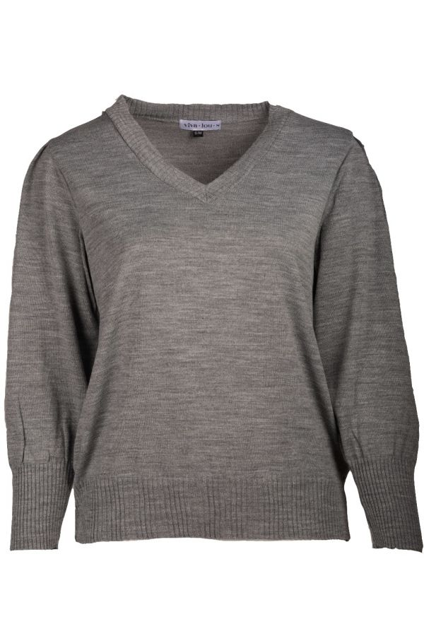 Knit jumper with puff sleeves in grey colour