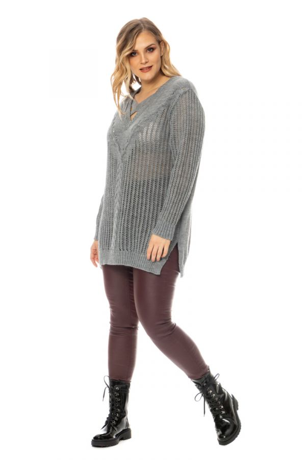 Open knit jumper with cross straps in grey colour