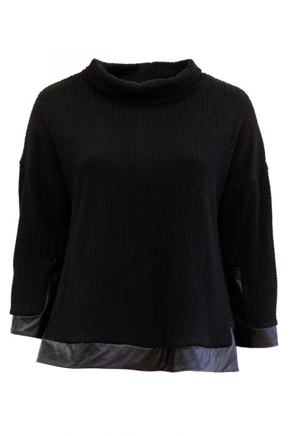 Hi-lo turtleneck jumper with leather-like details in black colour