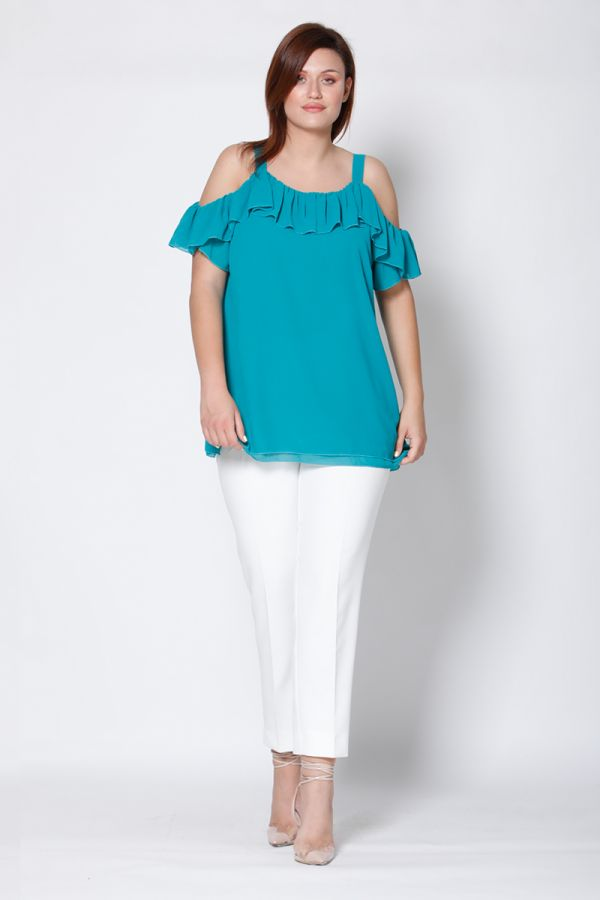 Cold shoulder frill top in mint colour