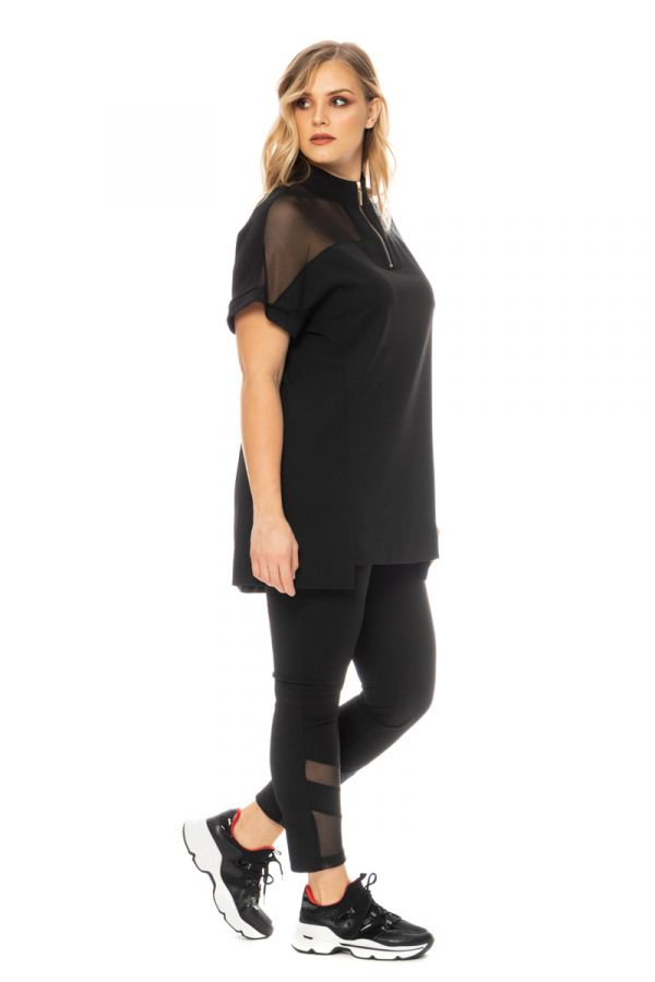T-shirt dress with mesh details in black colour