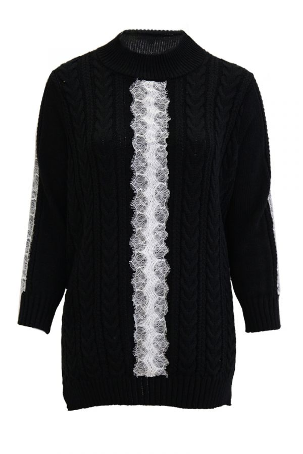 Long knit jumper with lace details in black colour