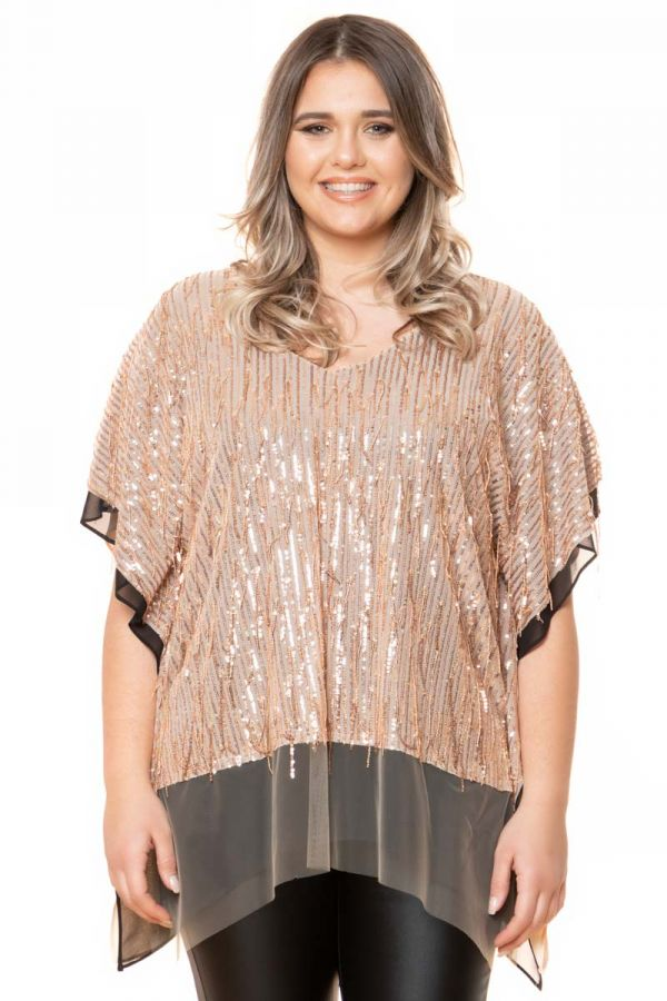 Layered embellished tunic in gold colour