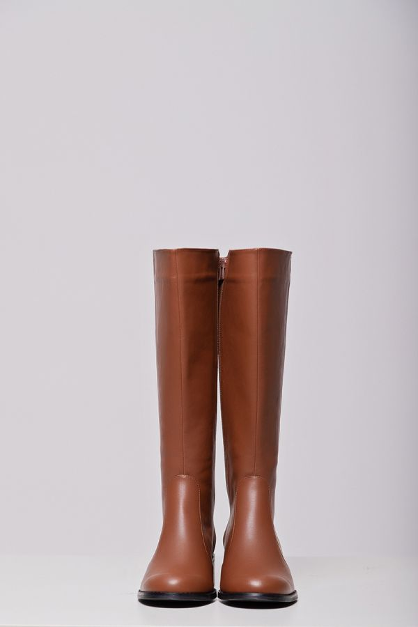 Real leather wide calf knee-high boots in chocolate colour