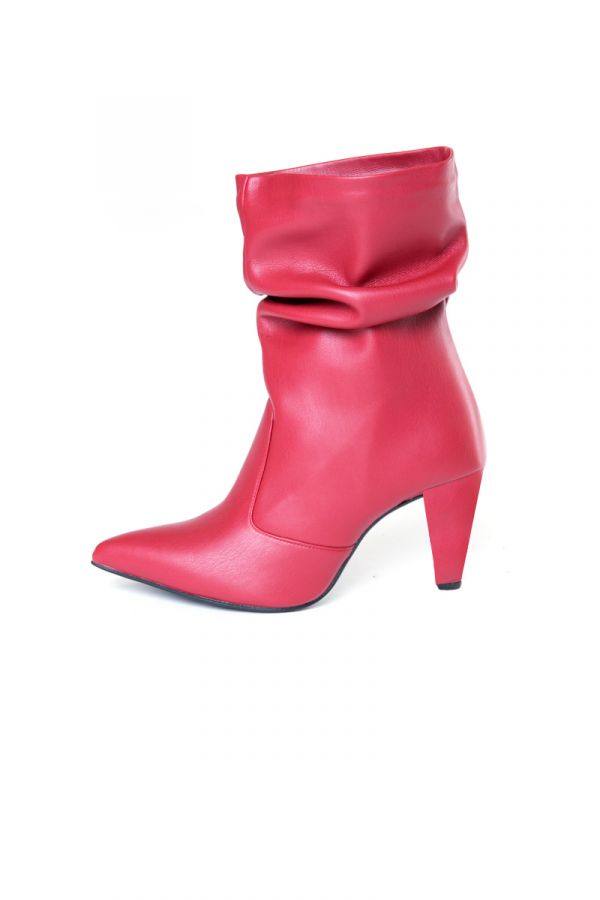 Red ankle boots ruched with low heel in 6cm
