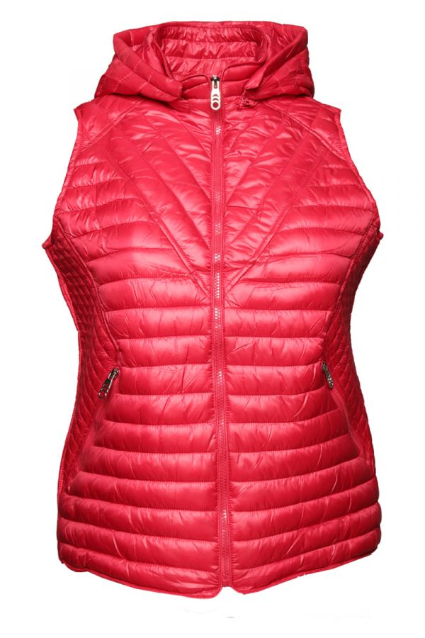 Sleeveless puffer with hood in red colour