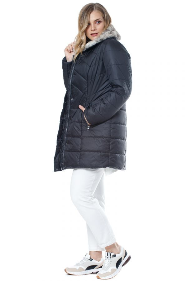 Quilted puffer with faux fur collar in black colour