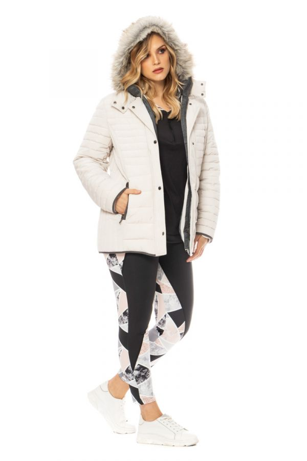 Quilted puffer with faux-fur hood in ecru colour