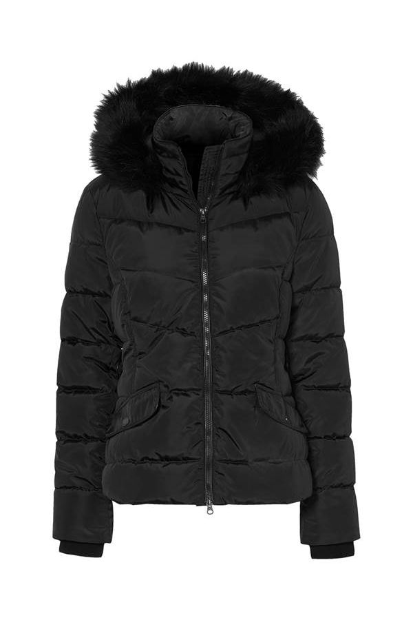 Quilted puffer with elasticated cuffs in black colour