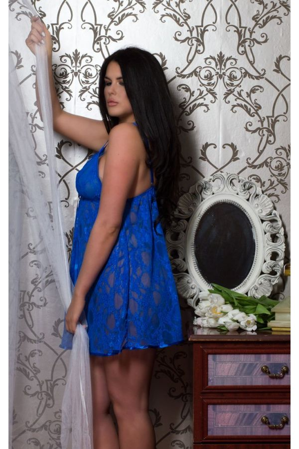 Lace babydoll with matching string in royal blue colour