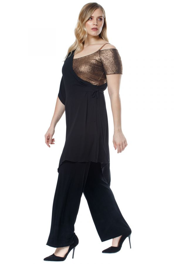 Asymmetric double layer jumpsuit with shimmer top in black colour