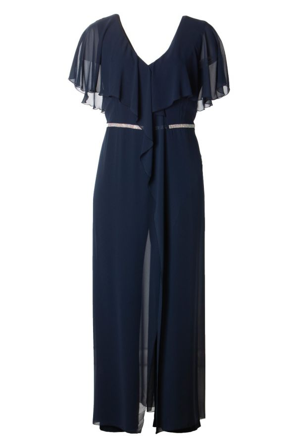 Layered embellished jumpsuit in blue colour