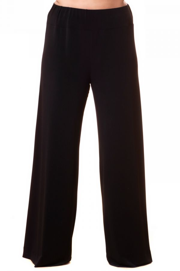 Light-weight high-waisted wide leg trousers in black colour