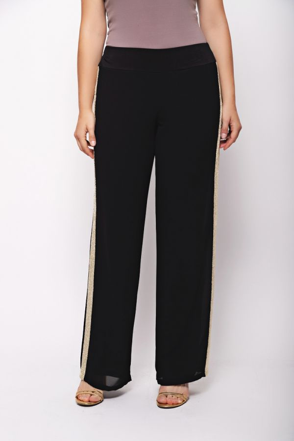 Wide leg trousers with gold stripe in black colour