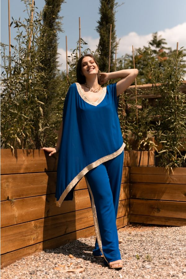 Wide leg trousers with gold stripe in royal blue colour